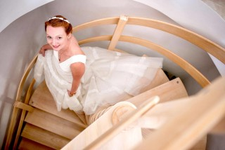 happy bride in asterias villa